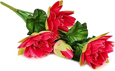 TIED RIBBONS Lotus Lily Flower Flower Bunches Artificial for Home,Table, Office, Living Room, Vase Decoration (Pink)