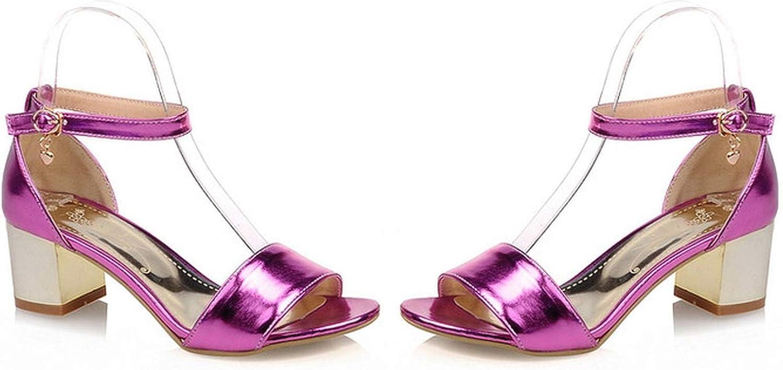 Women's Sandals Summer Solid Open Toe Buckle Thick Heel mid Heel Women's shoes,3,31
