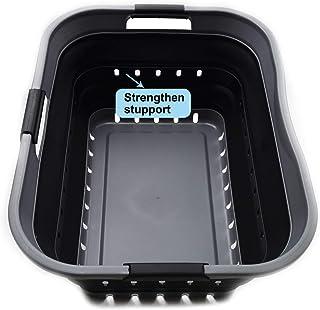 Sammart Panier à linge pliable en plastique – Contenant/organiseur de rangement pliable – Baignoire à linge portable – Pan...