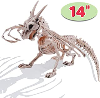 "Halloween Decoration 14"" Pose-N-Stay Dragon Skeleton Plastic Bones with Posable Joints for Pose Skeleton Prop Indoor/Outdoor Spooky Scene Party Favors Décor."