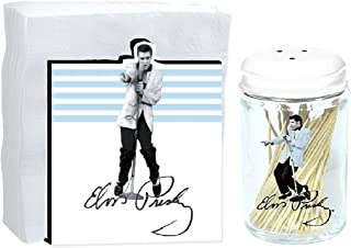 Retro Elvis Presley Blue Jacket 2-Item Bundle : Wooden Napkin Holder and Toothpick Holder…