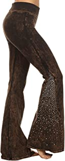 T Party Women's Embellished Flare Leg Mineral Wash Yoga Pants
