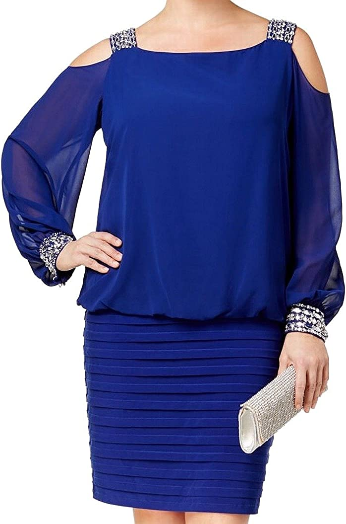 Betsy & Adam Women's Open Shoulder Blouson Banded Dress with Beading