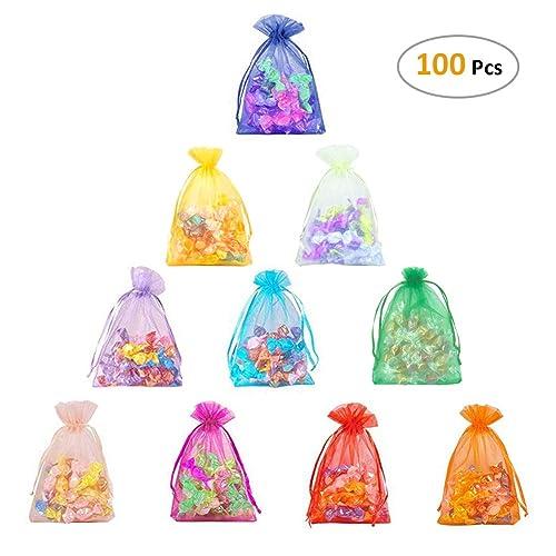 CLOUDYFOCUS 5x7 inches Drawstring Organza Bags - 100Pcs Sheer Organza  Pouches for Wedding Party Favor bb4d9a3b04dcc