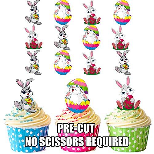 Lot de 12 décorations comestibles prédécoupées pour cupcakes et gâteaux Motif lapin de Pâques