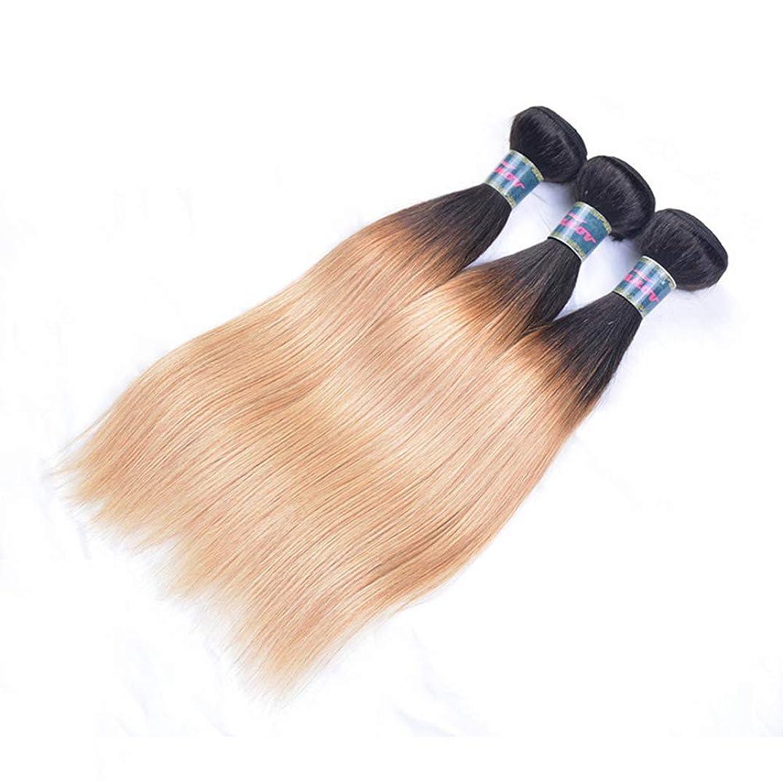 事実上発行クリップ毛織り130%密度ストレートヘアバンドルブラジルストレートヘアバンドル人間の髪バンドルブラジルバージンヘアブラックグラデーションゴールド