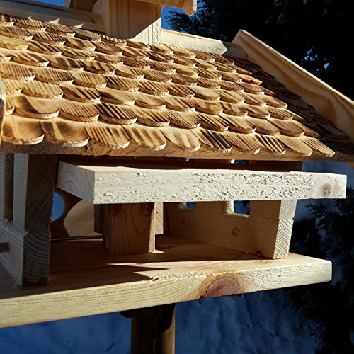 Vogelhaus-XXL mit Holzschindeln und Putzklappe lasiert Vogelhäuser-Vogelfutterhaus großes Vogelhäuschen-aus Holz Wetterschutz (Natur) - 5