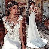 Simplicidad Elegante Vestido de Novia Sirena Suave Y Suave de Satén Simplicidad Elegante Vestido de Novia Apliques de Encaje Vestido de Novia Transparente Simplicidad Elegante Vestidos de Novia para
