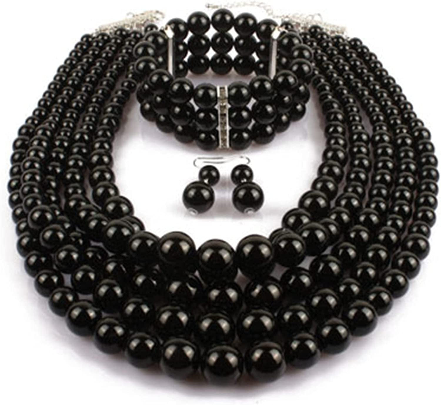 Exaggerated Layered Imitation Pearl Beads Choker Necklace Bracelet Drop Dangle Earring Multilayer Stacking Statement Strand Polished Ball Costume Jewelry Sets for Women Girl
