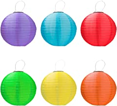 """IREALIST Multi-Color Hanging Ball, 12"""" Solar Powered Lanterns Outdoor Lighting for Gardens, Party, Home, Wedding, Pack of 6"""