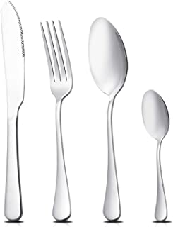 RIELD 16-Piece Silverware Flatware Set, Stainless Steel Utensils Cutlery Set Tableware Dinnerware Service for 4, Includes Knife, Fork, and Spoon, Dishwasher Safe
