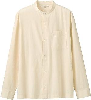 無印良品 インドの手紡ぎ手織りスタンドカラーシャツ