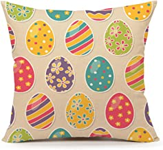 4TH Emotion Easter Colorful Egg Throw Pillow Case Cushion Cover Cotton Linen 18 x 18 Inch(A)