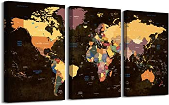 Wall Art for Office Wall Decor for Living Room,3 Pieces Large Size Black and White Vintage World Map Poster Printed ,Color...