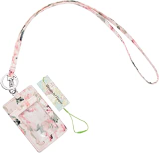 Wonderful Flower ID Case and Lanyard, Floral ID Badge Holder with Lanyard and Keyring, Easy Wipe Clean (019 Light Pink)