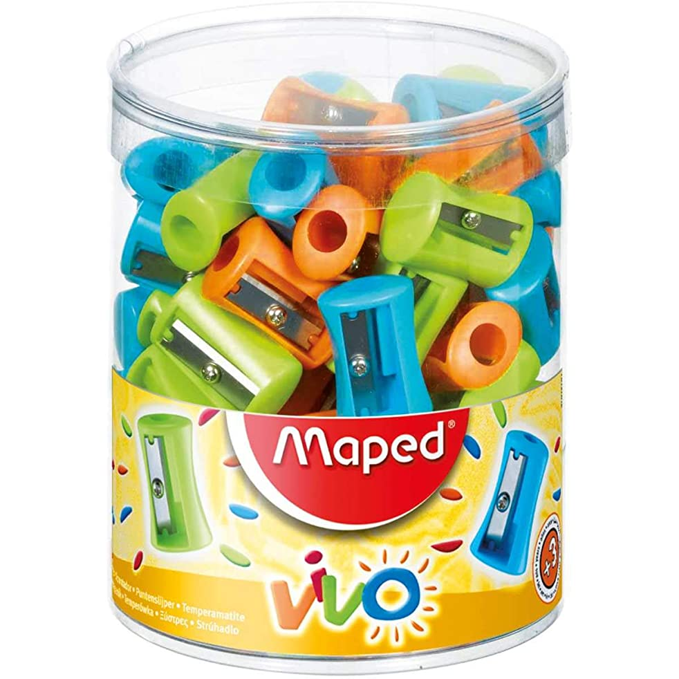 Maped 1 Hole Vivo Pencil Sharpener - Assorted Colours (Box of 75) 506300