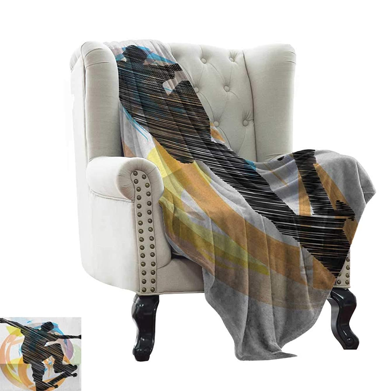 LsWOW Summer Blanket Teen Room,Abstract Grunge Stylized Sketch Art of A Skater Young Boy Exotic Sports Graphic, Multicolor Blanket for Sofa Couch TV Bed All Season 60