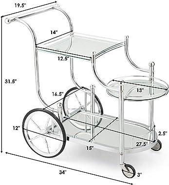 Tangkula Rolling Bar Cart, Metal Serving Cart with Tempered Glass, 3-Tier Glass Bar and Serving Cart, Tea Serving Bar Cart wi