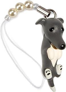 ペットラバーズ 犬種 Dog 92 Greyhound グレーハウンド ブルーホワイト ビーズ ストラップ DN-3103