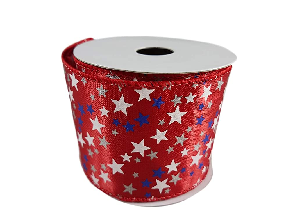 Patriotic Red White and Blue Stars and Stripes USA Flag Themed Wired Edge Ribbon for 4th of July, Memorial Day Party Decorating, 2.5 Inches by 3 Yards (Red Stars)