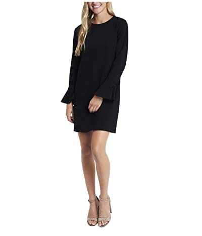 CeCe Ruffle Sleeve Ponte Dress (Rich Black) Women