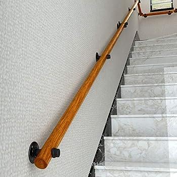 Pasamanos para escaleras de madera Pasamanos montado en la pared Barandilla de mano, barra de agarre de pino sólido industrial con juego de escaleras de tubos de hierro forjado, soportes de pasamanos: