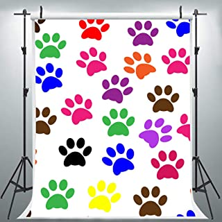 Colorful Paw Puppy Prints Backdrop for Photography, 5x7FT, Dog Foot Background for Paw Patrol Party, Photo Booth Studio Props LYLU265