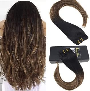 Sunny Human Hair Clip in Extensions Balayage 20 Inch Clip in Hair Extensions Balayage Black Ombre to Dark Brown and Caramel Blonde Balayage Hair Extensions 120g 7pcs