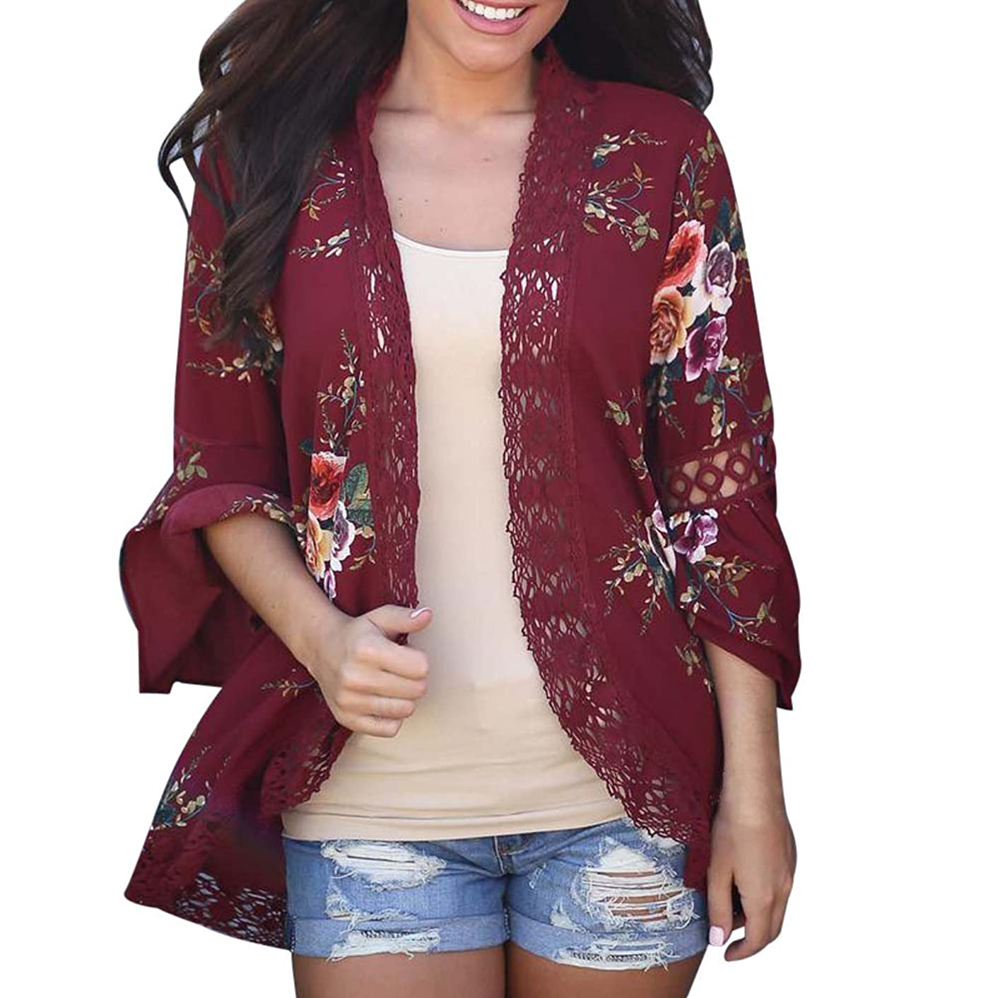 【MOHOLL】 Womens Floral Loose Bell Sleeve Kimono Cardigan Lace Patchwork Cover Up Blouse Top