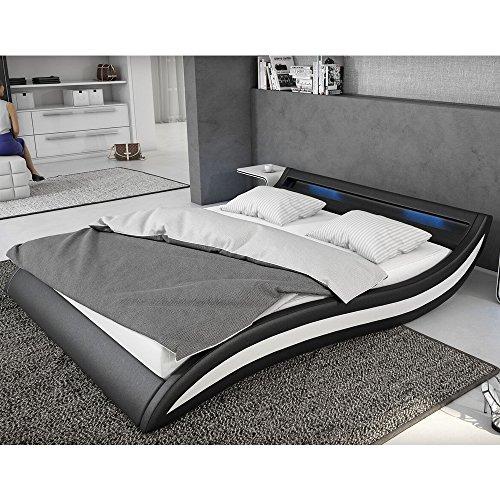 INNOCENT Polsterbett aus Kunstleder inkl. Lattenrost und LED Accentox schwarz, 180x200 cm