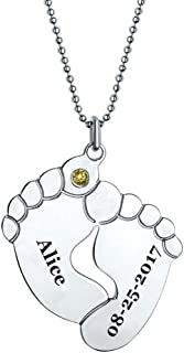 Personalized Engraved Name and Date Necklace with Birthstone Baby Feet 925 Sterling Silver Mother Jewelry