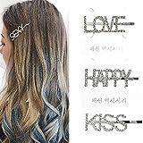 Jurxy Strass de Mode Épingles à Cheveux Letters Design Paillettes d'alliage Vintage Pince à Cheveux...