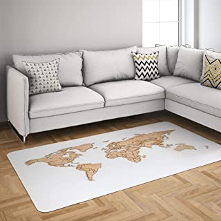 Wooden Area Rug,KUMAIN Wooden World Map White Wall Europe Africa 5x7 Area Rug Soft Quick Drying Huge Floor Rug Non Slip Abstract Play Carpet for Home Decor Dorm Kids Room Kitchen,Wooden