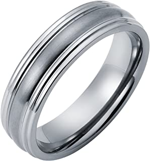 Boston Bay Diamonds Men's 6MM Comfort Fit Titanium Wedding Band Ring with Framed Channel Accent