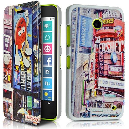 KARYLAX Seluxion - Coque Housse Etui à Motif KJ26 Rabat latéral et Porte-Carte pour Nokia Lumia 635 + Film de Protection
