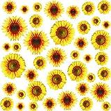 56 Stücke Sonnenblume Wandaufkleber Abnehmbare Gelbe Blume Wanddekoration Wasserdichte Sonnenblume Aufkleber Wandtattoos für Baby Kinderzimmer Küche Kindergarten Party