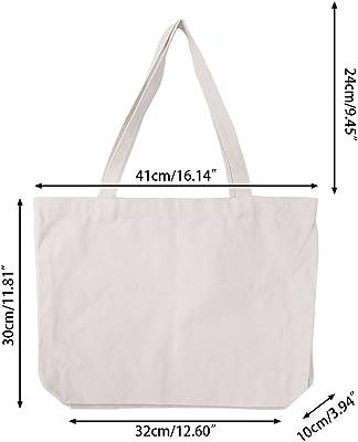 JUNESUN Women Handbags Canvas Tote Bags Reusable Cotton Shopping Bag Eco Foldable Blank