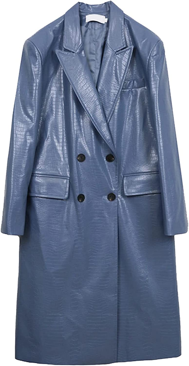 KSFBHC Autumn Long Crocodile Pattern Faux Leather Trench Coat for Women Double Breasted Womens Leather Jackets and Coats (Color : Haze Blue, Size : Medium)