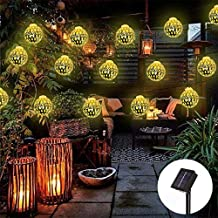 Obrecis 20LED Moroccan Ball Solar String Lights, Globe Fairy Lights Solar Powered Orb Lantern Christmas Lighting for Outdoor Garden, Yard, Patio, Party, Home Decoration-16ft (Gold)