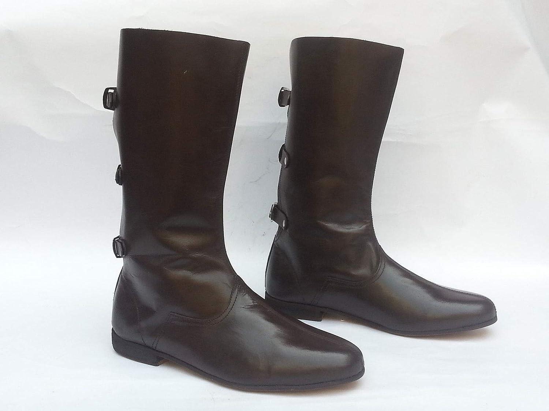 Uniquewonderitems Mens Vintage Dark Brown Western Cowboy Boots Leather Retro Ranch Long shoes