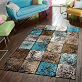 Paco Home Area Rug for Living Room in Brown Cream Turquoise Checked Modern Style Good Value, Size:4'7' x 6'7'