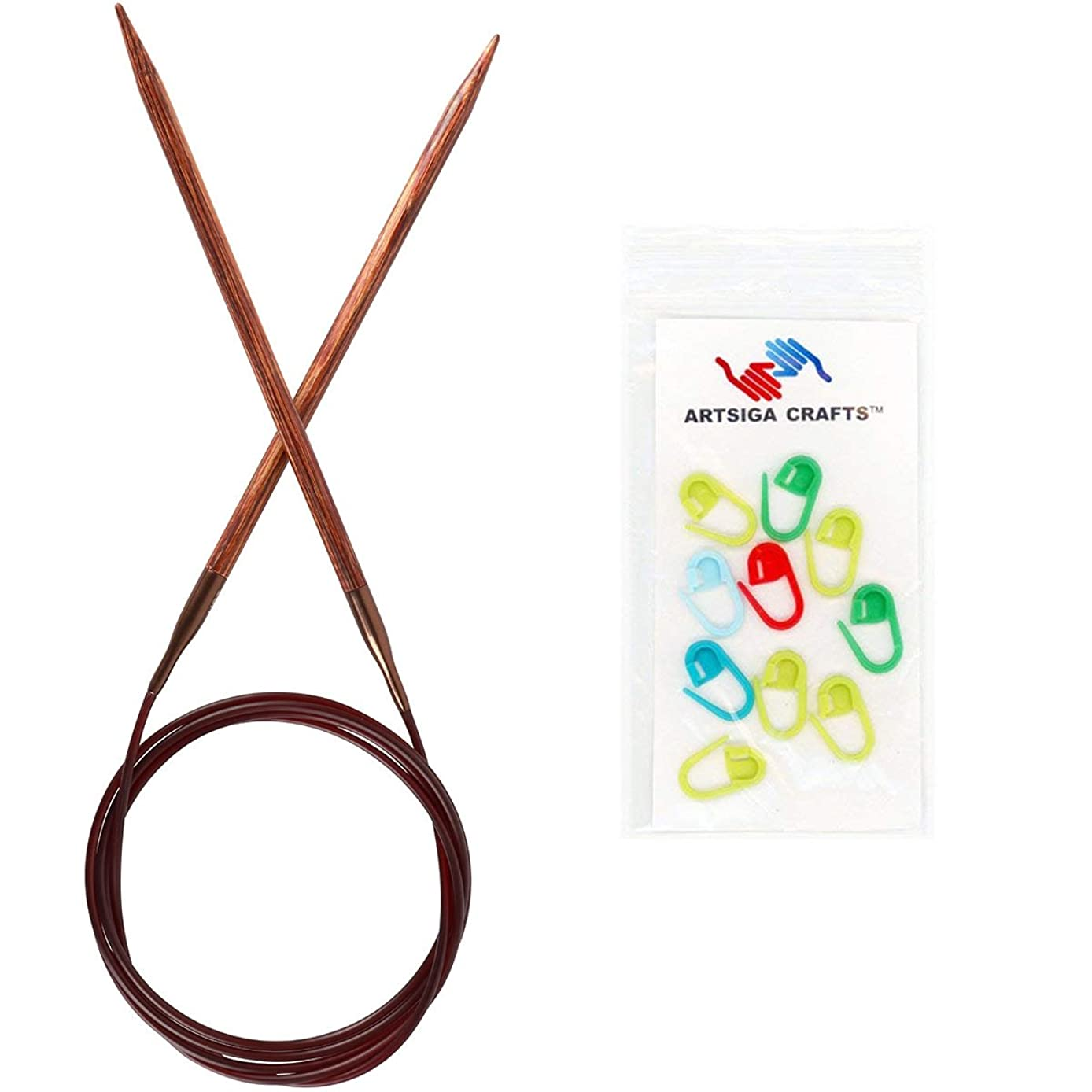 Knitter's Pride Knitting Needles Ginger Fixed Circular 24 inch Size US 6 (4mm) Bundle with 10 Artsiga Crafts Stitch Markers