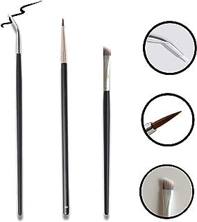 Dogie Lyn 3 Pack - Eye Makeup Gel Eyeliner Brushes - Ultra Fine Bent Eye Liner Brush - Angled Eyeliner Define 150 Degree Pointed Round Synthetic Brush Kit