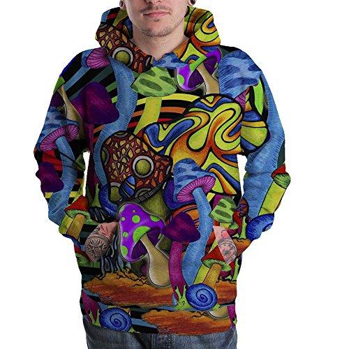 Mushroom Psychedelic Hallucinogen LSD Acid hipie Design 3D Men Pullover Zipper Hoodie Sweaters S-3XL (Pullover Hoodie, Large)