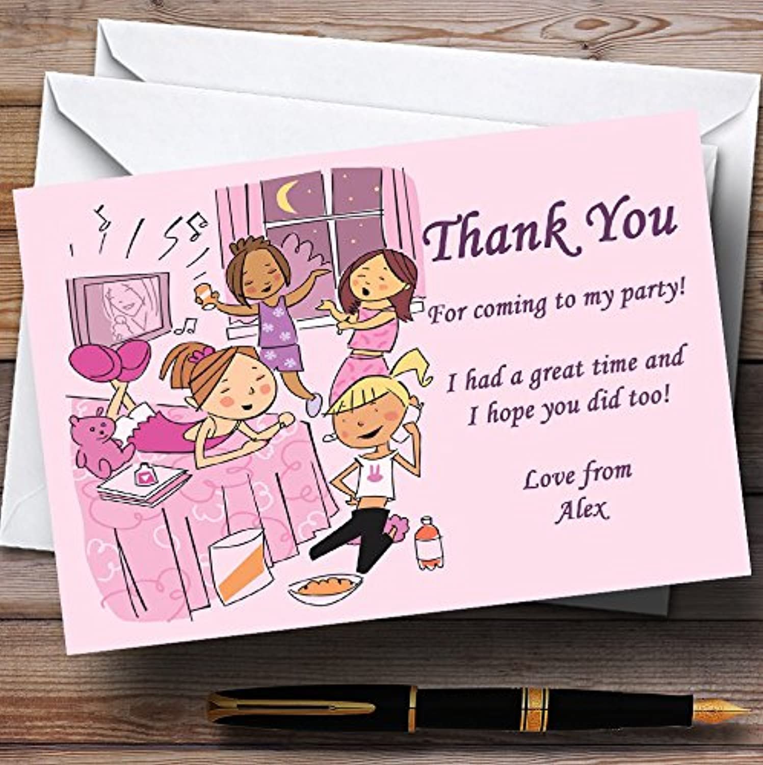Pretty Pink Sleepover Makeup Slumber Personalised Party Thank You Cards