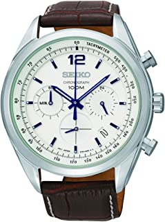 Chronograph White Dial Stainless Steel Brown Leather Mens Watch SSB095
