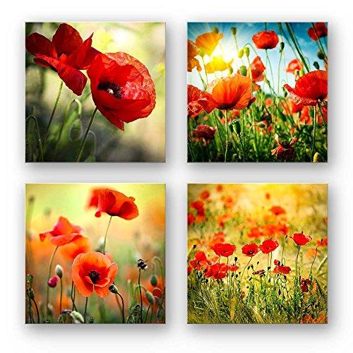 Mohnblumen Wand-Bilder als mehrteiliges, 4-teiliges Blumen Bilder-Set, je 29x29cm klein, schwebende Optik, Fine Art Druck auf Forex für eine Moderne Optik. Deko für Wohnzimmer Küche Flur Schlafzimmer
