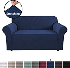 H.VERSAILTEX Sofa Cover 1 Piece Machine Washable Jacquard Spandex Sofa Slipcover Furniture Cover/Protector, Soft Stretch Spandex Skid Resistance Loveseat Slipcovers 2 Cushions (2 Seater, Navy)