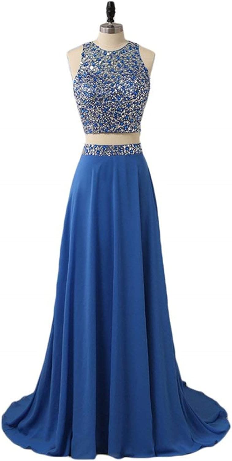 ANFF Women's Prom Dress Two Pieces Beaded Bodice Formal Evening Party Dress