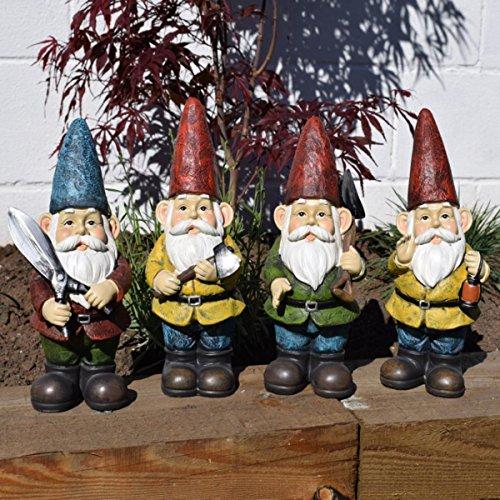 Kaemingk Set of 4 Large Working Quirky Outdoor Garden Gnomes